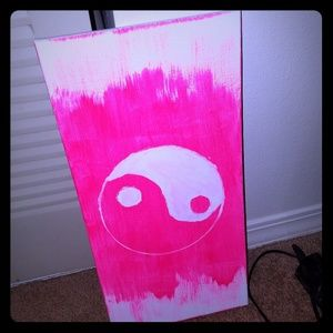 Hand painted  neon pink  ying yang canvas
